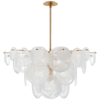 Loire Large Chandelier in Gild with White Strie Glass