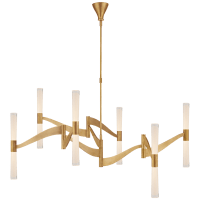 Brenta Grande Chandelier in Hand-Rubbed Antique Brass with White Glass