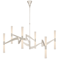 Brenta Grande Chandelier in Polished Nickel with White Glass