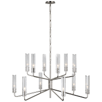 Casoria Large Two-Tier Chandelier in Polished Nickel with Clear Glass