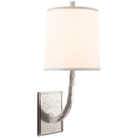 Lyric Branch Sconce in Soft Silver with Silk Shade