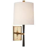 Refined Rib Sconce in Ebony Resin and Soft Brass with Linen Shade