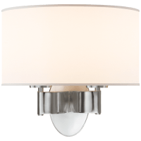 Graceful Ribbon Double Sconce in Soft Silver with Silk Shade