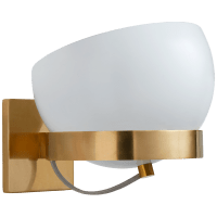 Lightwell Small Rotating Sconce in Soft Brass with White Shade