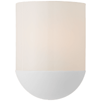 Crescent Small Sconce in Matte White with White Glass
