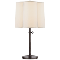 Simple Adjustable Scallop Table Lamp in Bronze with Silk Shade