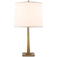 Petal Desk Lamp in Soft Brass with Bronze Mirror Base and Silk Shade