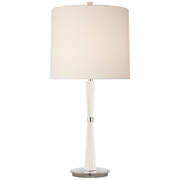 Refined Rib Medium Table Lamp in China White and Polished Nickel with Linen Shade