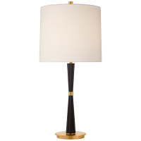 Refined Rib Medium Table Lamp in Ebony and Soft Brass with Linen Shade