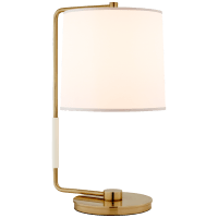 Swing Table Lamp in Soft Brass with Silk Shade