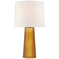 Danube Medium Table Lamp in Amber with Linen Shade