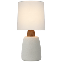 Aida Medium Table Lamp in Porous White and Natural Oak with Linen Shade