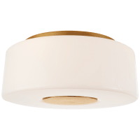 Acme Large Flush Mount in Soft Brass with White Glass