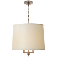 Westport Large Hanging Shade in Pewter with Linen Shade