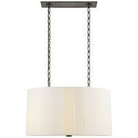 Perfect Pleat Oval Hanging Shade in Bronze with Silk Shade