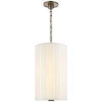 Perfect Pleat Tall Hanging Shade in Pewter with Silk Pleated Shade