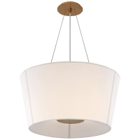 Hoop Medium Inverted Hanging Shade in Soft Brass with Linen Shade