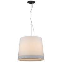 Sash Medium Hanging Shade in Bronze with Linen Shade Banded