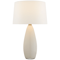 Myla Large Tall Table Lamp in White Glass with Linen Shade