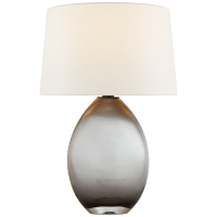 Myla Medium Wide Table Lamp in Smoked Glass with Linen Shade