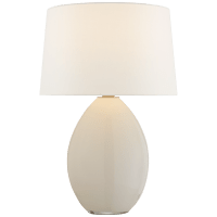 Myla Medium Wide Table Lamp in White Glass with Linen Shade