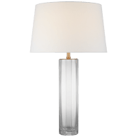 Fallon Large Table Lamp in Clear Glass with Linen Shade
