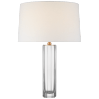 Fallon Medium Table Lamp in Clear Glass with Linen Shade
