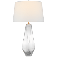 Gemma Medium Table Lamp in Clear Glass with Linen Shade