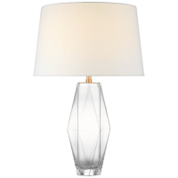 Palacios Large Table Lamp in Clear Glass with Linen Shade