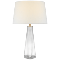Teagan Large Table Lamp in Clear Glass with Linen Shade