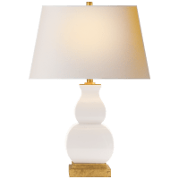 Fang Gourd Table Lamp in Ivory Crackle with Natural Paper Shade