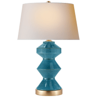Weller Zig-Zag Table Lamp in Oslo Blue with Natural Paper Shade
