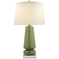 Parisienne Medium Table Lamp in Shellish Kiwi with Natural Percale Shade