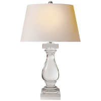 Balustrade Table Lamp in Crystal with Natural Paper Shade