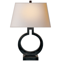 Ring Form Small Table Lamp in Bronze with Natural Paper Shade