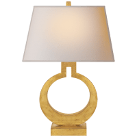 Ring Form Small Table Lamp in Gild with Natural Paper Shade