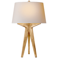Russell Modern Tripod Table Lamp in Gilded Iron with Natural Paper Shade