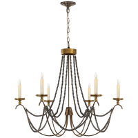 Marigot Medium Chandelier in Rust and Antique-Burnished Brass with Tudor Brown Beaded Trim