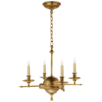 Leaf and Arrow Small Chandelier in Antique-Burnished Brass