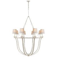 Lancaster Chandelier in Old White with Natural Paper Shades