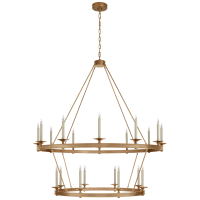 Launceton Grande Two Tiered Chandelier in Antique-Burnished Brass