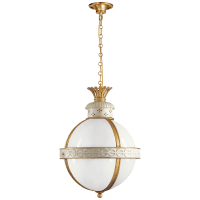 Crown Top Banded Globe Lantern in Antique White with White Glass