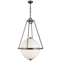 Modern Globe Lantern in Bronze with White Glass