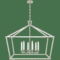 Darlana XXL Wide Lantern in Polished Nickel
