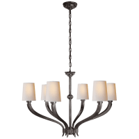 Ruhlmann Large Chandelier in Bronze with Natural Paper Shades