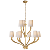 Ruhlmann 2-Tier Chandelier in Antique-Burnished Brass with Natural Paper Shades