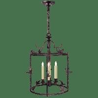 Diego Grande Classical Perching Bird Lantern in Rust with Verdis Accent