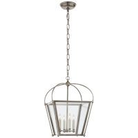 Riverside Small Square Lantern in Antique Nickel with Clear Glass