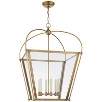 Riverside Large Square Lantern in Antique-Burnished Brass with Clear Glass