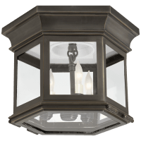 Club Small Hexagonal Flush Mount in Bronze with Clear Glass